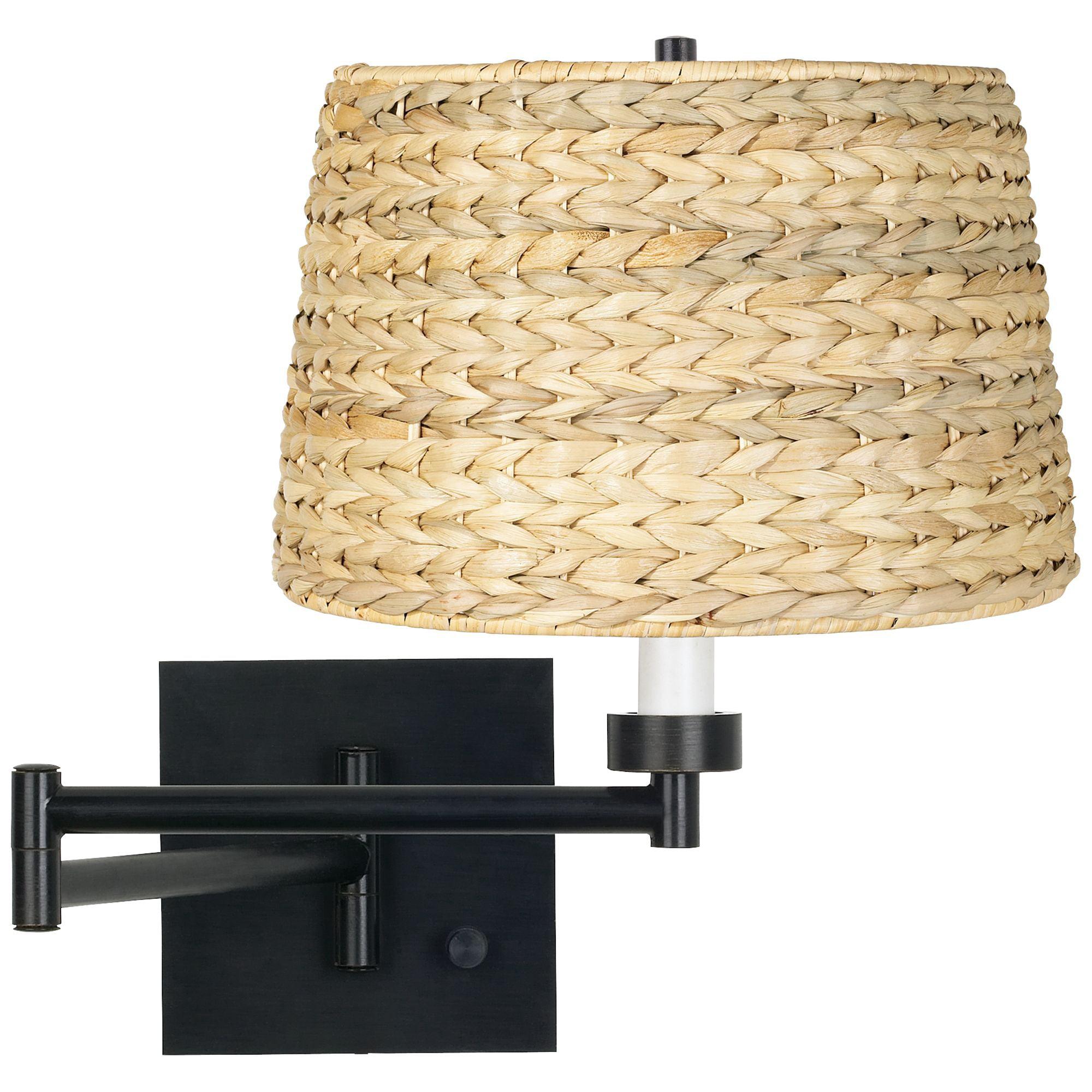 Franklin Iron Works Modern Swing Arm Wall Lamp Espresso Plug In Light Fixture Woven Seagrass Drum Shade For Bedroom Living Room Walmart Com Walmart Com