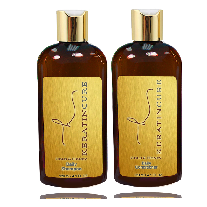 Keratin Cure Gold & Honey 2 Piece 5 oz Hair Care Sulfate Free Shampoo, Conditioner for Repair Moisturize Argan & Fruit Oils, Shea botanicals for keratin treated hair