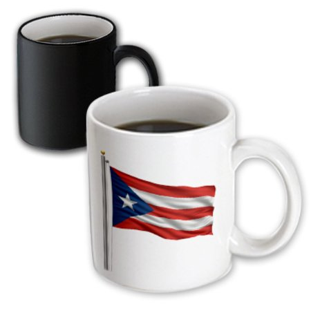 3dRose Flag of Puerto Rico on a flag pole over white Rican - Magic Transforming Mug,