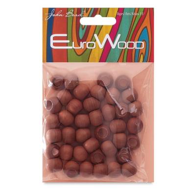 John Bead Euro Wood Beads - Light Brown, Round, Large Hole, 12 mm x 9.8 mm, Pkg of 40