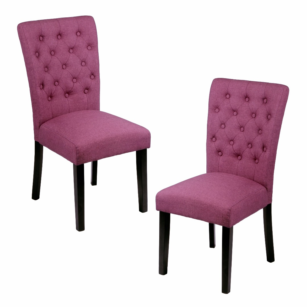 Modern Orchid Linen Button Tufted High Back Side Dining Chairs with Dark Walnut Parsons Legs