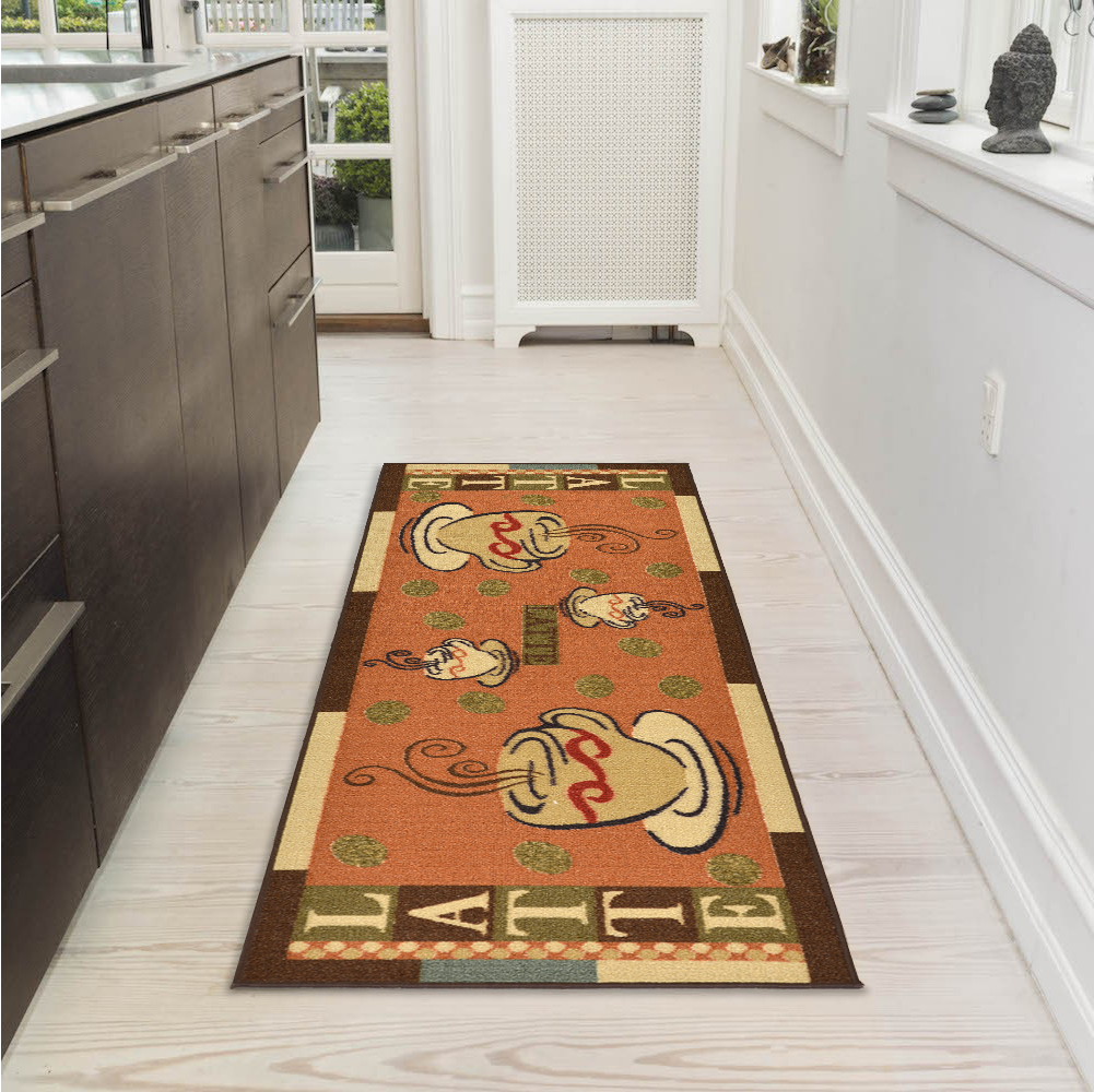 "Ottomanson Sara's Kitchen Coffee Cups Design Mat Runner Rug with Non-Skid (Non-Slip) Rubber Backing, Dark Orange, 20"" X 59"""