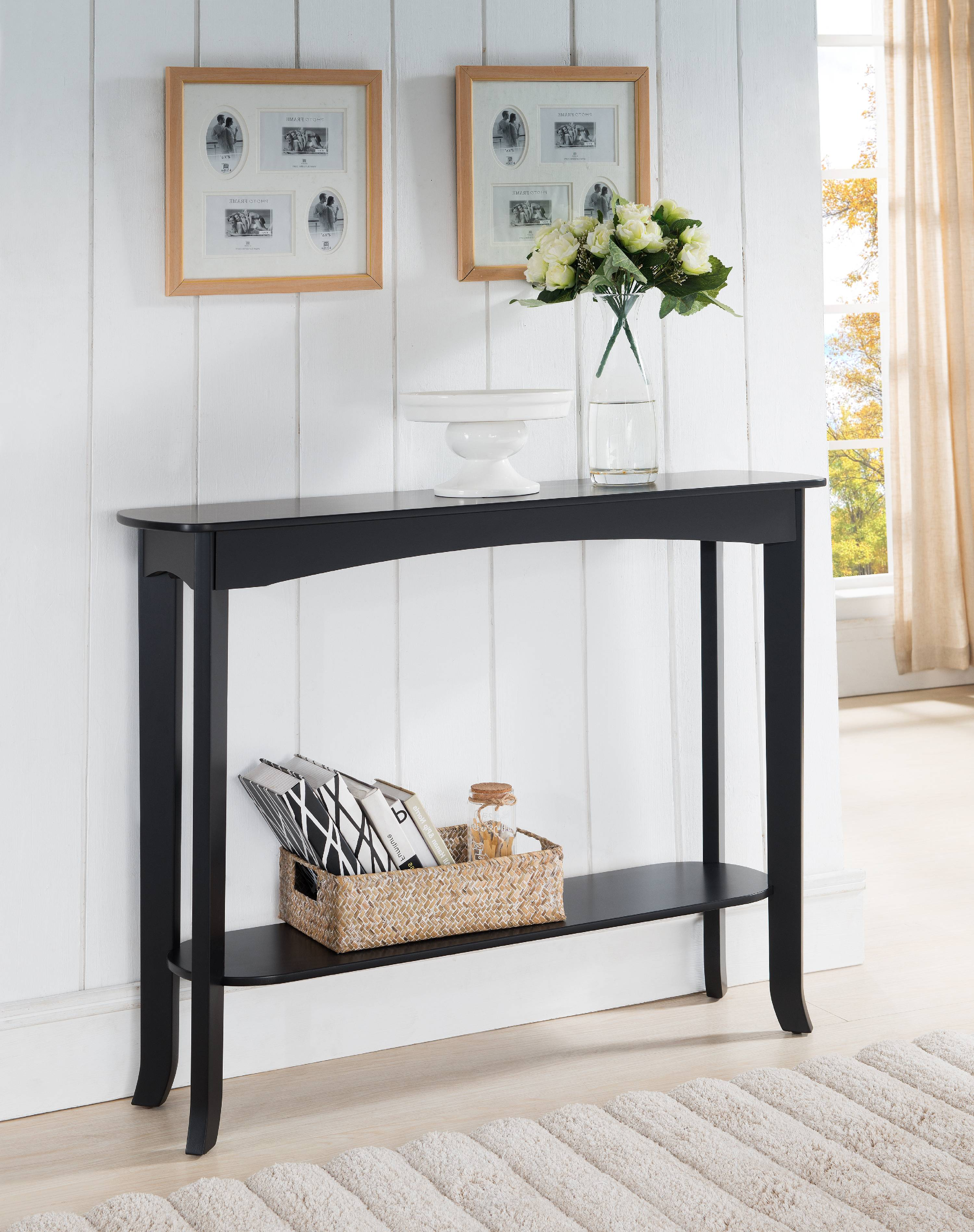 Carter Espresso Wood Contemporary Occasional Entryway Console Sofa Table With Storage Shelf by Pilaster Designs