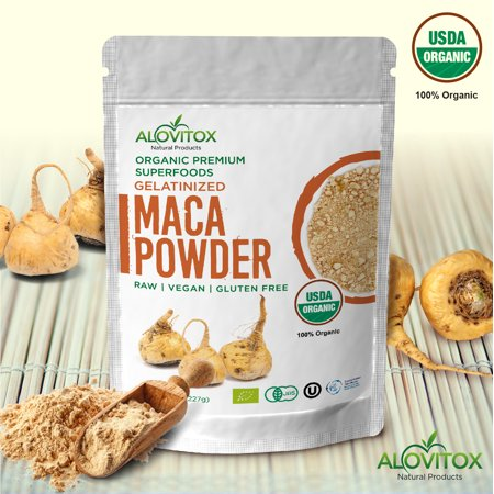 Alovitox Certified Organic Pure Maca Powder Gelatinized Gluten Free Vegan Superfood 8oz