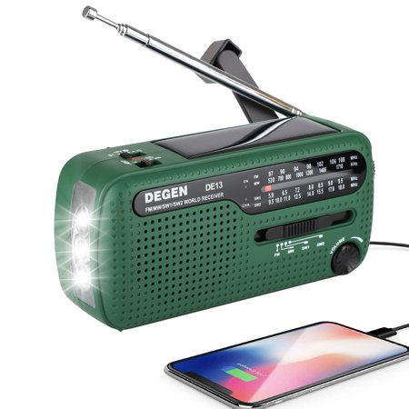 Emergency Solar Hand Crank Radio, EEEkit Portable Radio for Emergency with FM MW SW, 3 LED Flashlight, Reading Lamp, Micro USB Charging, and SOS Alarm