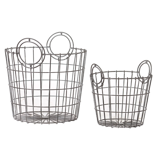 Woodland Imports 2 Piece French Market Bag Replica Metallic Wire Mesh Basket Set by Woodland Imports