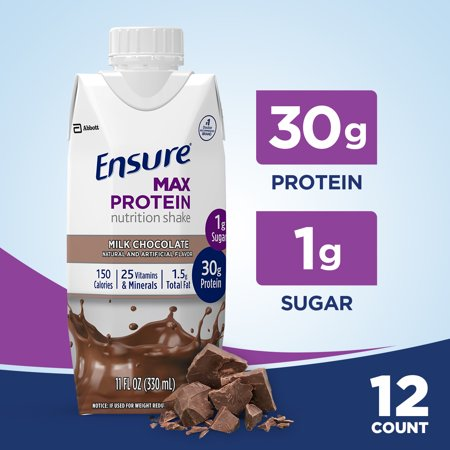 Ensure Max Protein Nutrition Shake with 30g of protein, 1g of Sugar, High Protein Shake, Milk Chocolate, 11 fl oz, 12 (Protein Shake Nutrition)