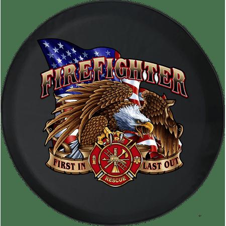 American Bald Eagle Firefighter Rescue Adventure 4x4 Fun Spare Tire Cover fits Jeep RV & More 28 Inch ()