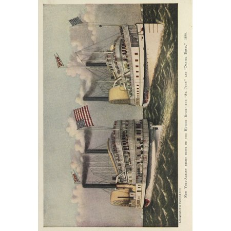 Currier & Ives Valentines Manual of Old New York 1925 Steamboats on the Hudson River Poster Print