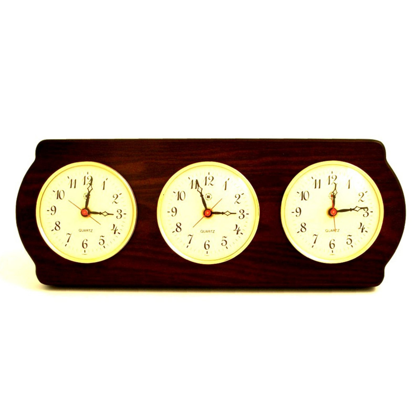 Bey-Berk International Brass Multi Zone Clock on Ash Wood with 3 Brass Plates - Tarnish Proof
