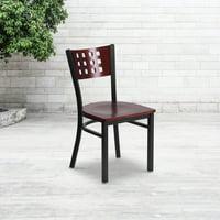 Flash Furniture HERCULES Series Black Decorative Cutout Back Metal Restaurant Chair, Mahogany Wood Back & Seat