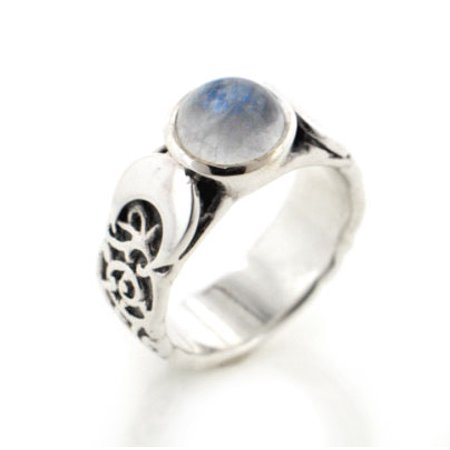- Sterling Silver Lunar Moon Phases and Rainbow Moonstone Ring