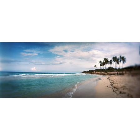 Scenic View Of Beach Against Cloudy Sky Santa Maria Del Mar Beach Havana Cuba Poster Print