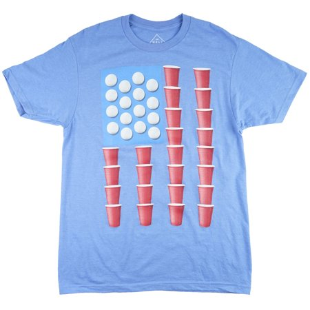 Beer Pong Flag T-Shirt Blue Party Top Mens