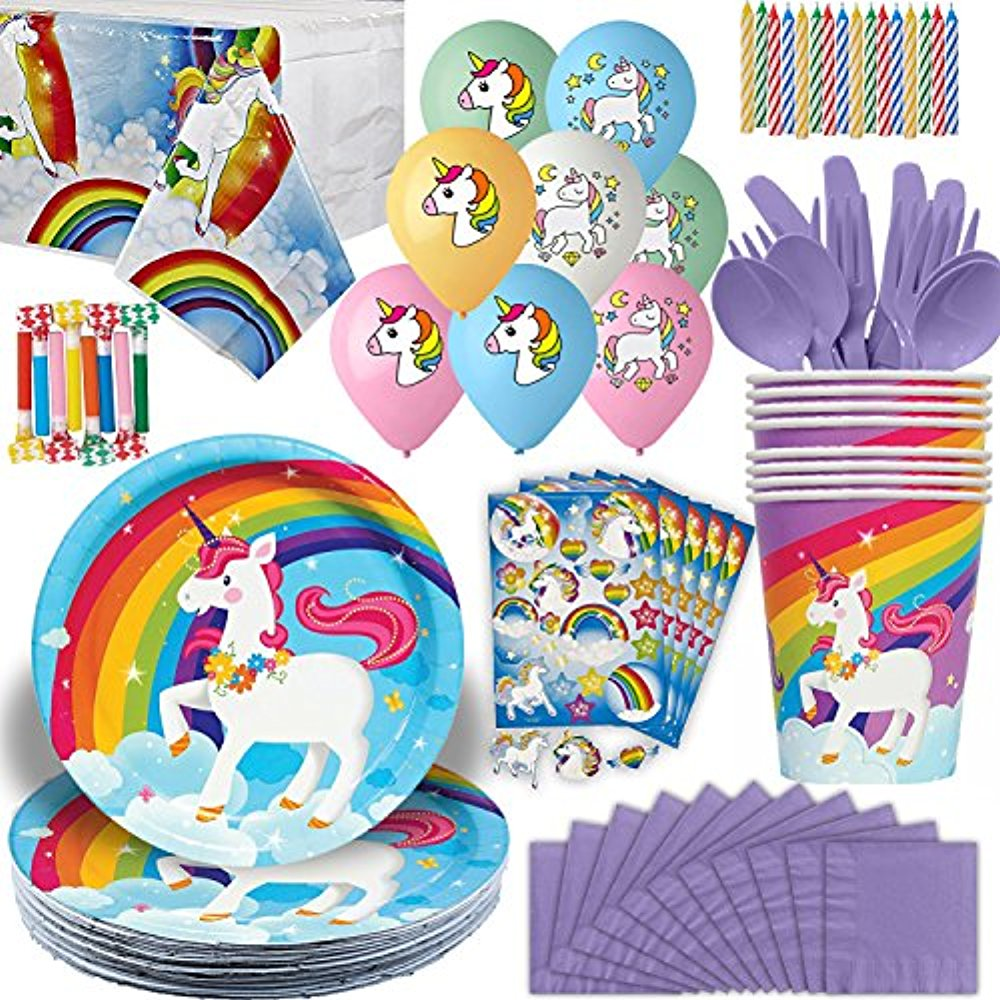 Unicorn Party Supplies 16 Guests Plates Cups napkins
