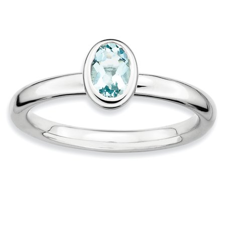 Sterling Silver Stackable Expressions Oval Aquamarine Ring Size 5 - image 3 of 3