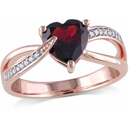 1-3 8 Carat T.G.W. Garnet and Diamond Accent 10kt Rose Gold Heart Ring by Generic