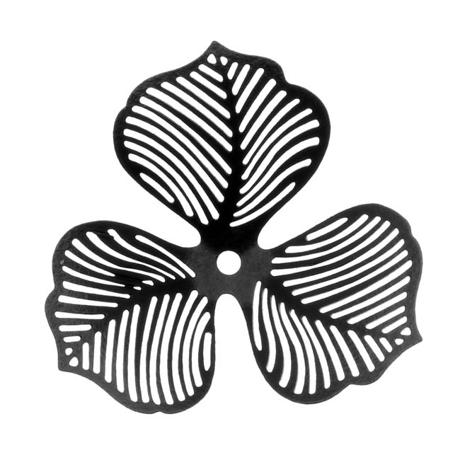 Black Color Coated Brass Filigree Stamping By Ezel - Trillium Flower 30mm (1)