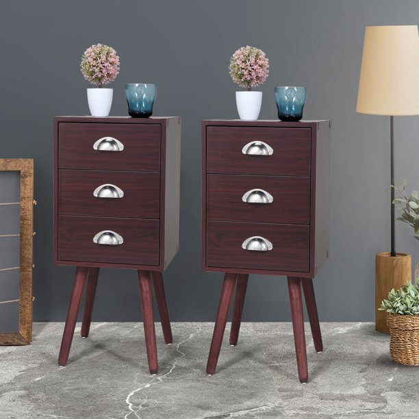 Jaxpety Mid Century Nightstand Bedroom End Table Set of 2 End Side Table w/ 3 Drawer Home Decor Furniture Brown