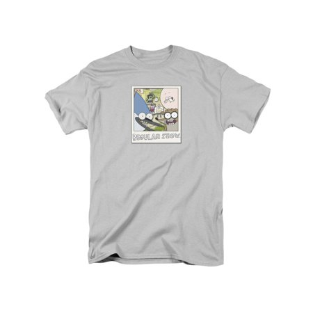 Regular Show Instant Picture Mens Short Sleeve Shirt (Silver,)
