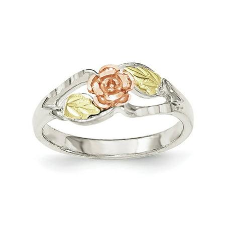 Landstrom's Black Hills Sterling Silver and 12K Gold Accent Rose Ring, Size 6 Black Hills Gold Silver Toe Ring