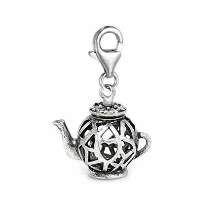 Clip on Tea Pot Charm for European Jewelry with Lobster - Pot Charm