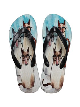 04042f24ece Product Image KuzmarK Flip Flop Thong Sandals Unisex - Three Incognito  Siamese Kitties Abstract Cat Art by Denise