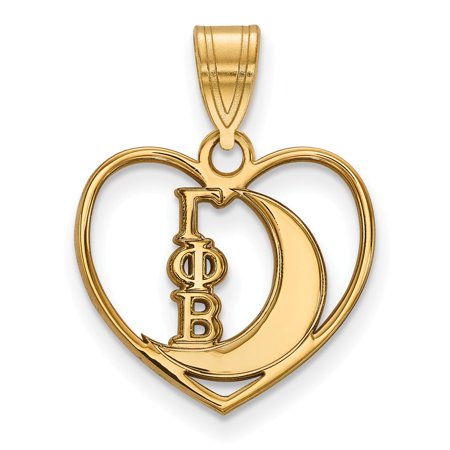 Solid 925 Sterling Silver with Gold-Toned Gamma Phi Beta Heart Pendant (Phi Heart)