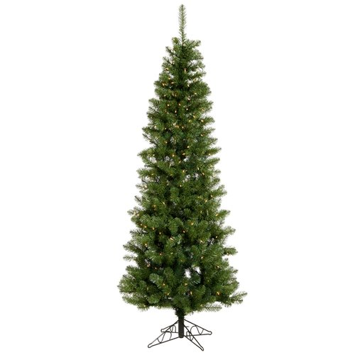 Vickerman Salem Pencil Pine 8.5' Green Artificial Christmas Tree with 450 Warm White LED Lights with Stand