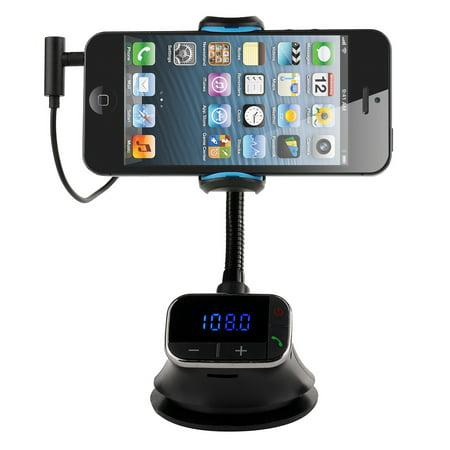 VicTsing Smart Holder Hands-free Car Kit, Charger, MP3, FM Transmitter for Smart-phones, iPhone, Samsung, (Best Holder With Fm Transmitters)