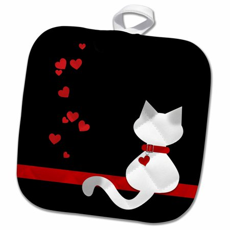 3dRose Pet Lovers Red Hearts Siamese Kitty Cat - Pot Holder, 8 by 8-inch