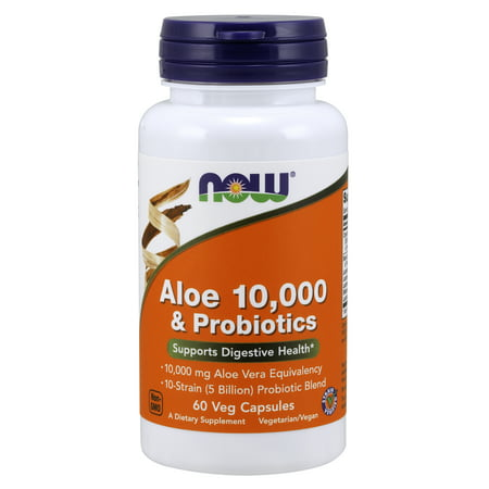 Probiotic Blend - NOW Supplements, Aloe 10,000 & Probiotics with 10-Strain (5 Billion) Probiotic Blend, 60 Veg Capsules