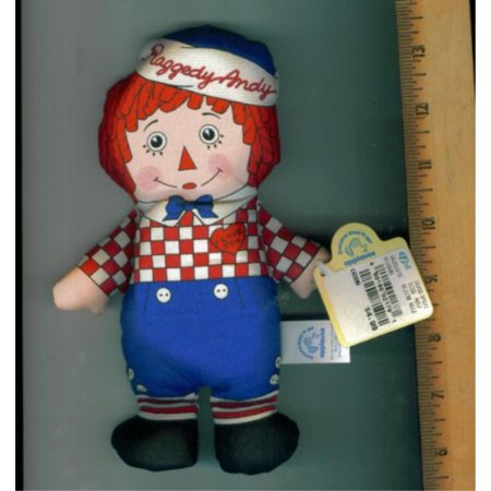 Applause Toy Store - APPLAUSE RAGGEDY ANDY DOLL. 13 E 99 ON ONE TAG. CE. I LOVE YOU ON SHIRT. STUFFED DOLL.