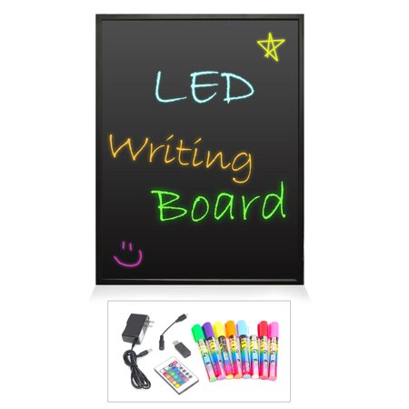 PYLE PLWB6090 - LED Writing Board - Illuminated & Washable Art Board, Includes Remote Control, Fluorescent Markers (35'' x - Fluorescent Markerboard
