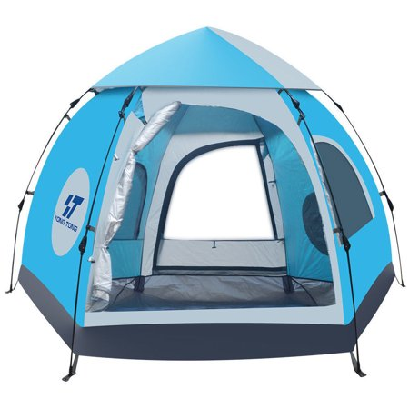 Backpacking Tent 4-6 person Double Layer Tents Automatic Pop Up 2 Doors 2 Windows Anti-UV Windproof with Carry Bag