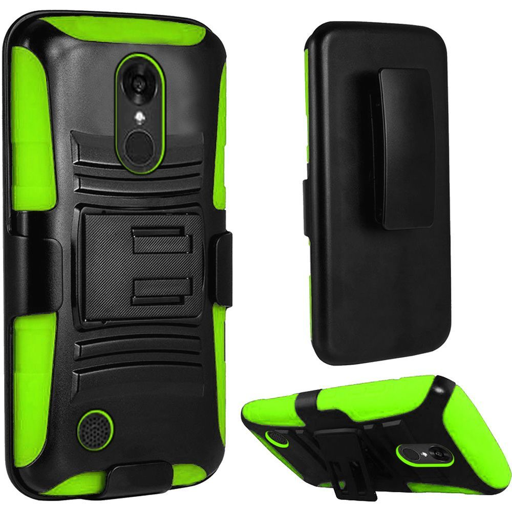 LG Aristo Case, LV3 Case   Wydan Rugged Shockproof Holster Kickstand Phone  Cover Black On
