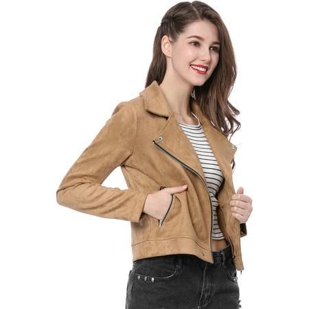 Women's Short Zip Up Faux Suede Biker Moto Jacket Coat Outerwear Khaki M (US 10)