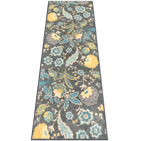 Silk & Sultans Agathe Collection Floral Design, Pet Friendly, Non-Skid Runner Rug with Rubber Backing, 2