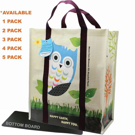 EcoJeannie® 1 Pack Super Strong X-Large Laminated Woven Reusable Shopping Tote Bag (Avail: Set of 1,2,3,4,5 Bags), Free Standing, Recycled Plastic w/ Bottom Board & Reinforced Nylon Handle