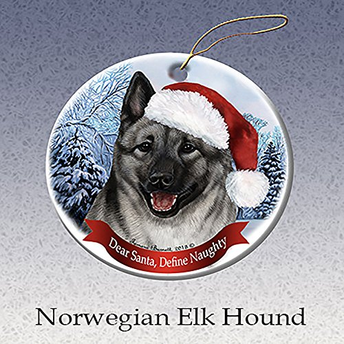 Holiday Pet Gifts Norwegian Elkhound Santa Hat Dog Porcelain