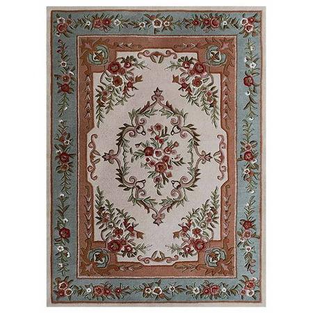 hand tufted wool area rug floral beige light blue 5x8. Black Bedroom Furniture Sets. Home Design Ideas