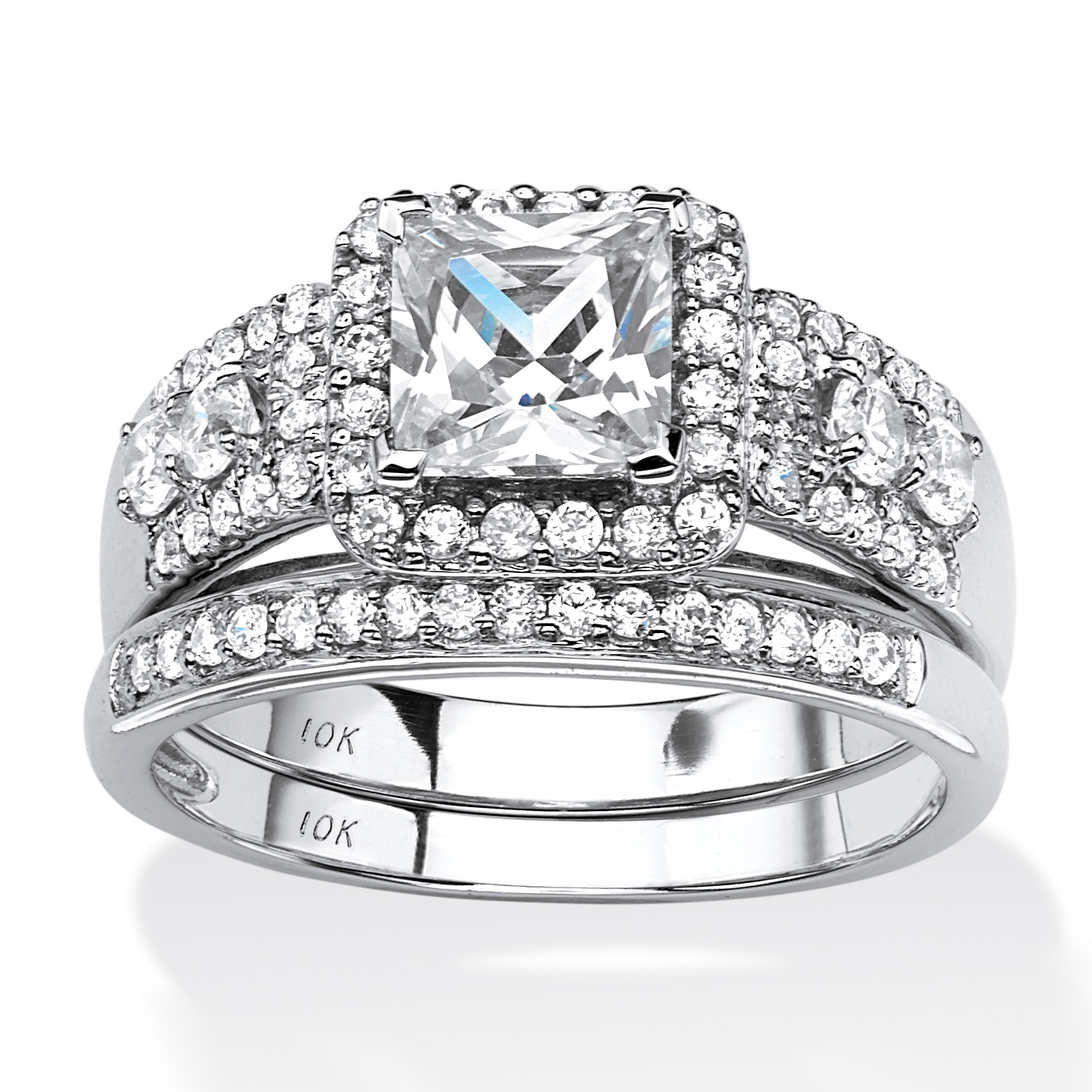 1.85 TCW Princess-Cut Cubic Zirconia Two-Piece Halo Bridal Set in 10k White Gold