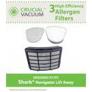 Shark Navigator Lift-Away HEPA, Foam & Felt Filters, Part # XHF350, XFF350