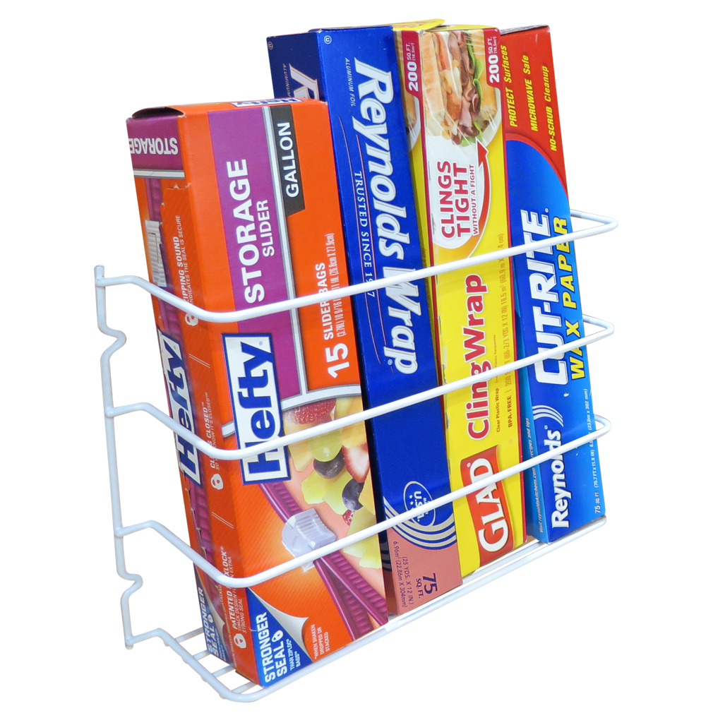 Evelots Wrap/Foil Organizer Rack-Kitchen Cabinet Door-Wall-Plastic Coated  Iron