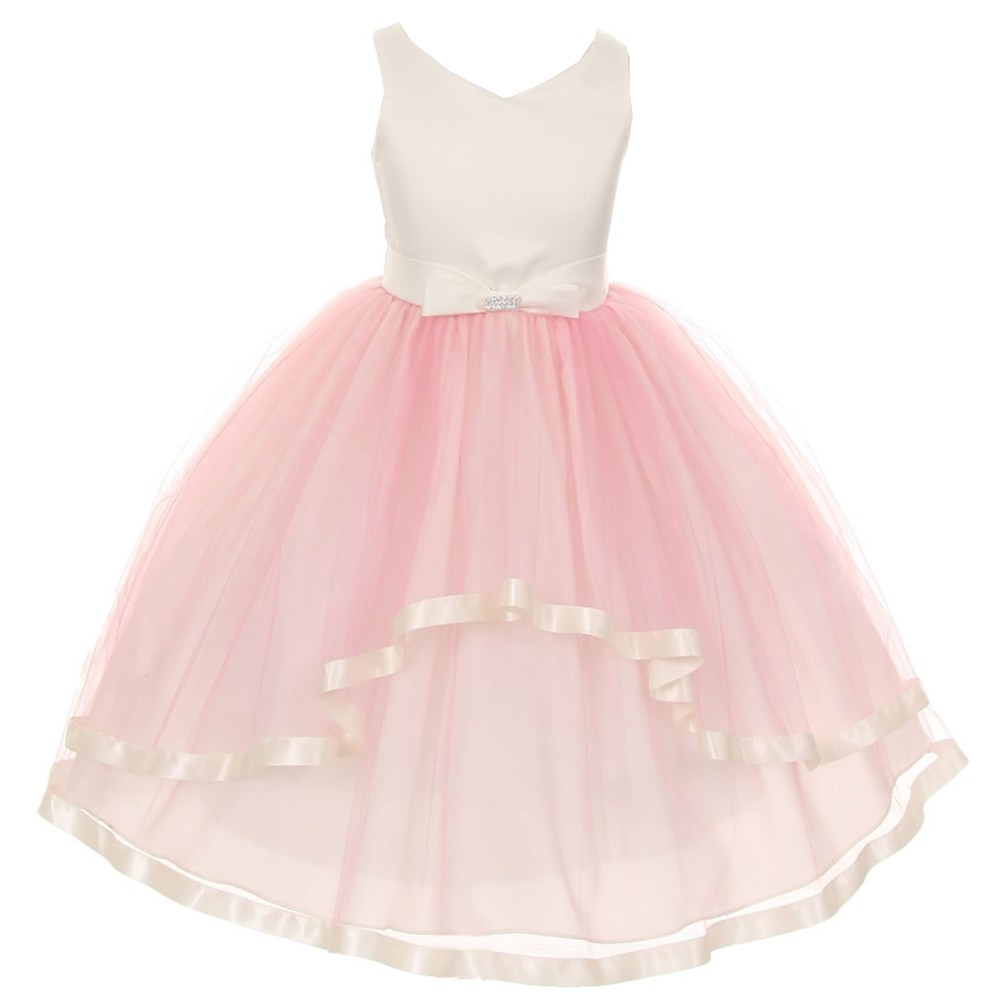 Girls Pink V Neck Satin Bow 3 Layer Tulle Flower Girl Dress 8 12