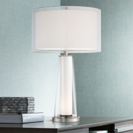 360 Lighting Modern Table Lamp with Nightlight Frosted Glass Inner Clear Glass Outer White Drum Shade for Living Room (Modern Clear Glass)
