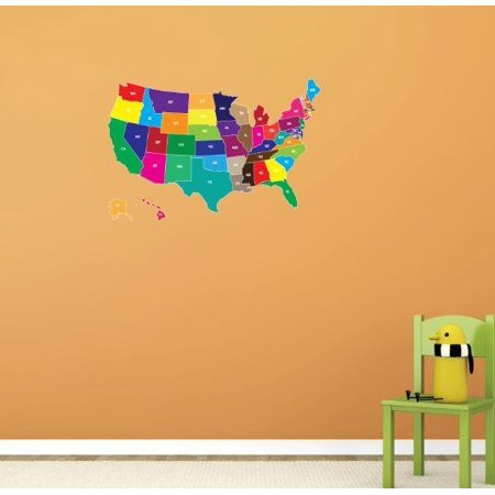 Custom Wall Decal Vinyl Sticker : Color Map of USA America United ...