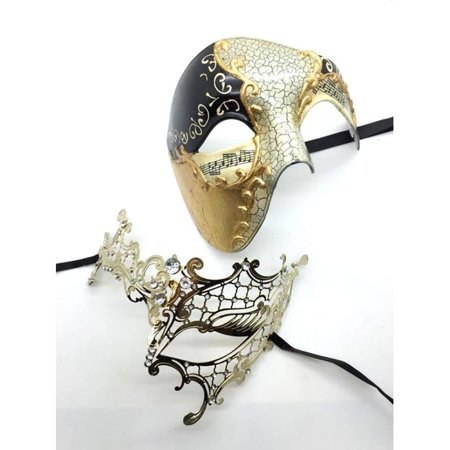 His and Her Phantom of the Opera GOLD Masquerade Masks Set - His And Her Halloween Costumes