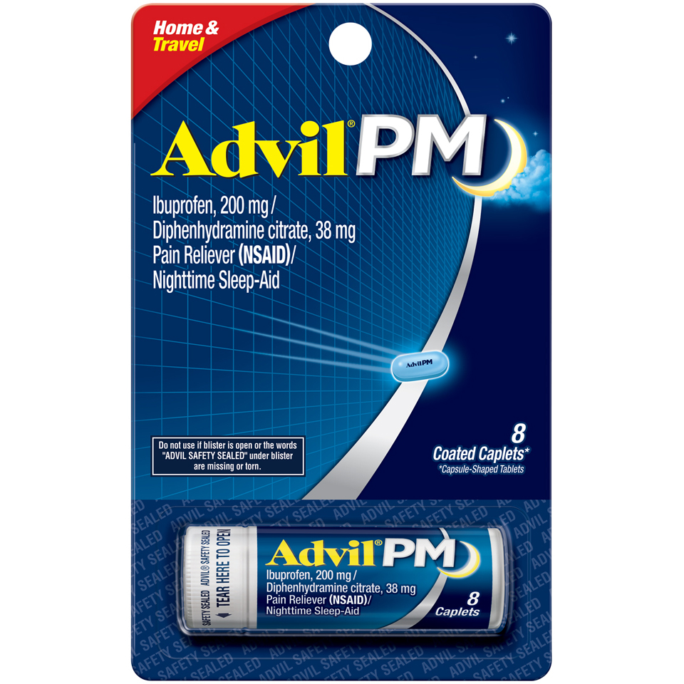 Advil PM Pain Reliever / Nighttime Sleep Aid Coated Caplet (8 Count Vial)