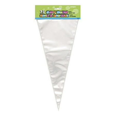 Cone Bags (100 Triangle Clear Cello Bags Triangular Cone Loot Sack Twist Ties Party)